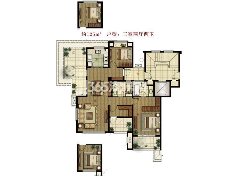 万科城户型图A4户型 3室2厅2卫 面积:125.00㎡