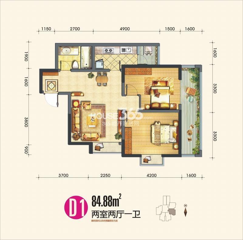 晶鑫华庭D1户型两室两厅一卫84.88㎡