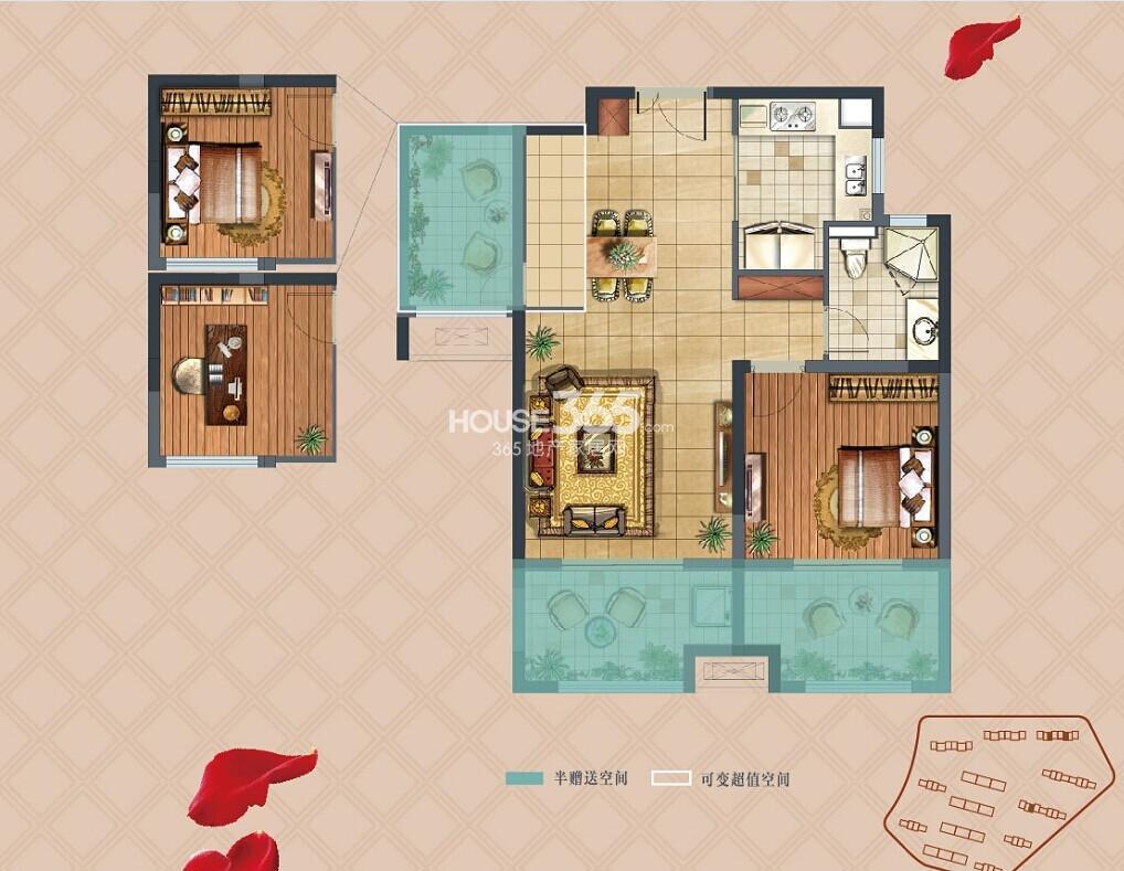 弘阳上湖A2户型78㎡1+1室2厅1卫