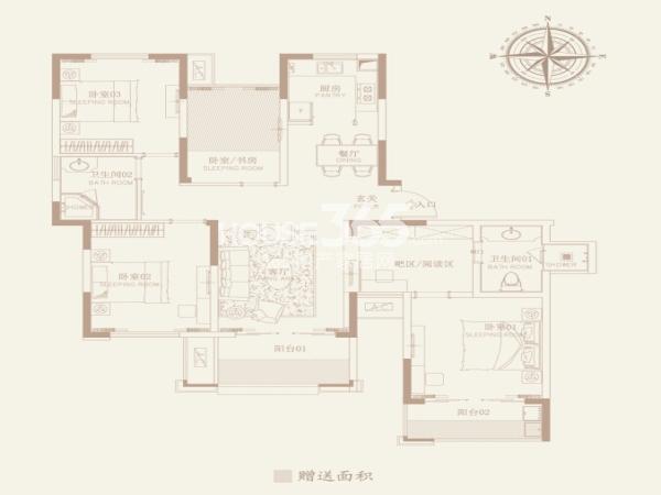 津西新天地G户型三室两厅两卫加空中花园138平