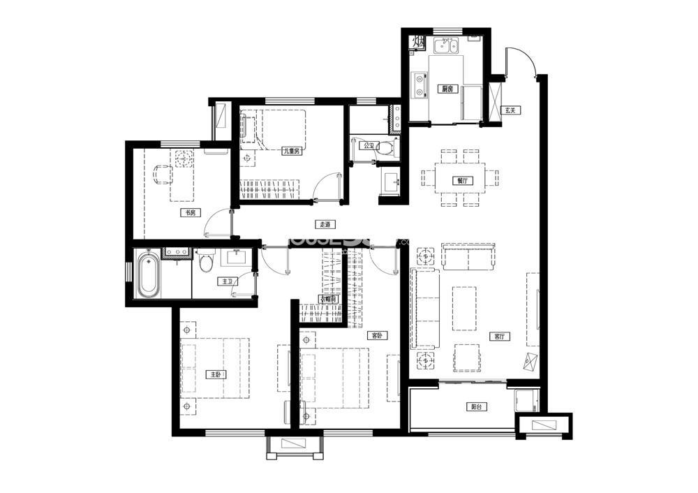 万科城一期标准层C1户型-143平方米 4室2厅2卫1厨