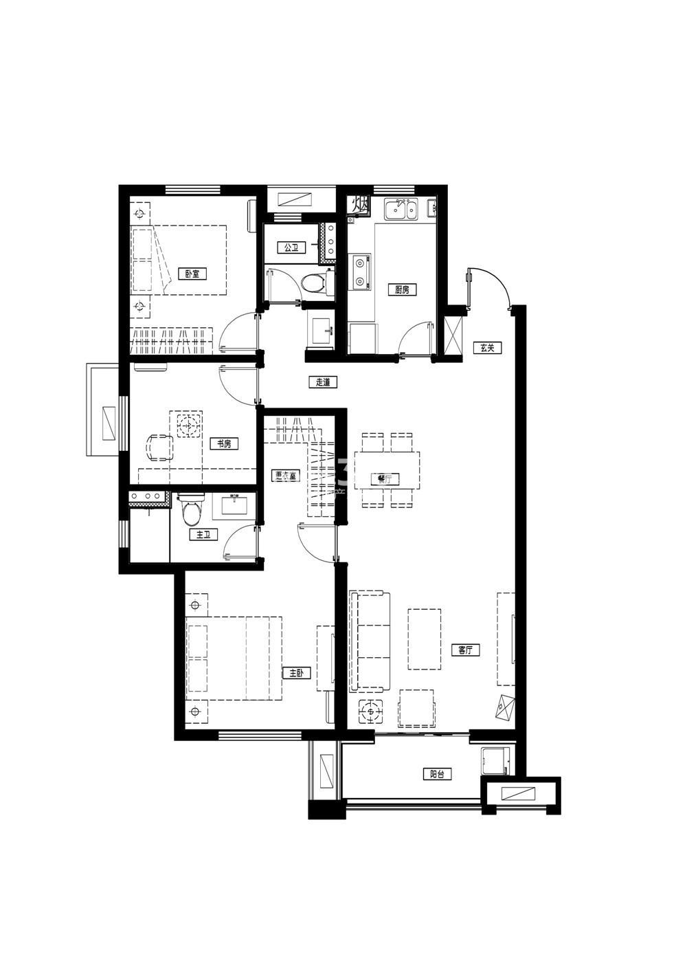 万科城一期标准层B1户型 116平方米 3室2厅2卫1厨
