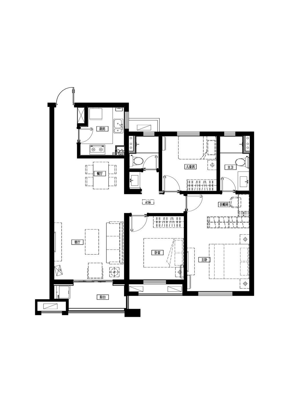 万科城一期标准层B2户型  110平方米  3室2厅2卫1厨