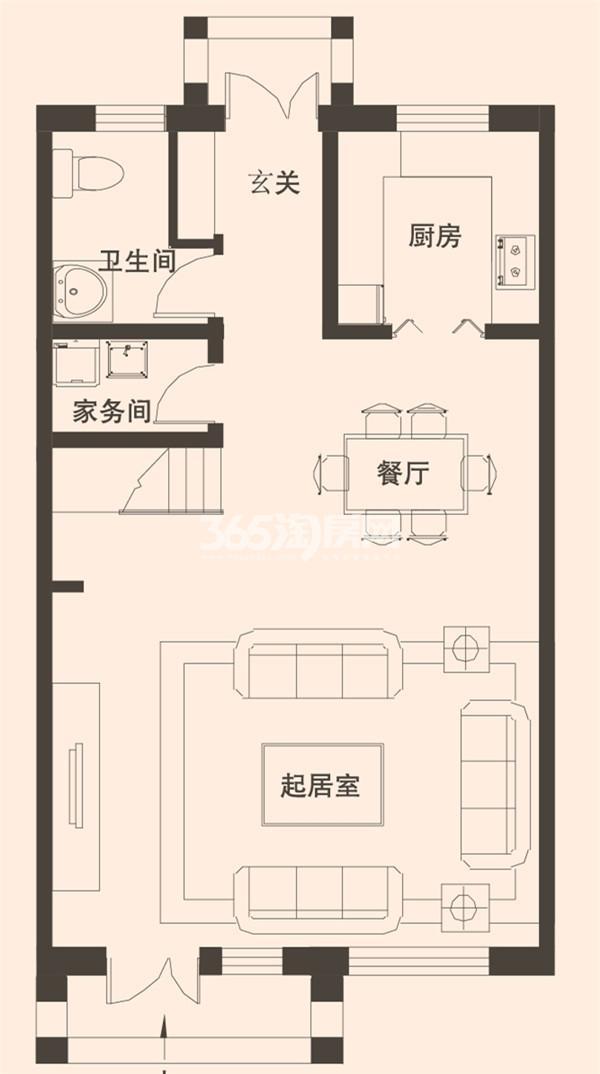 别墅A2户型173平米一层