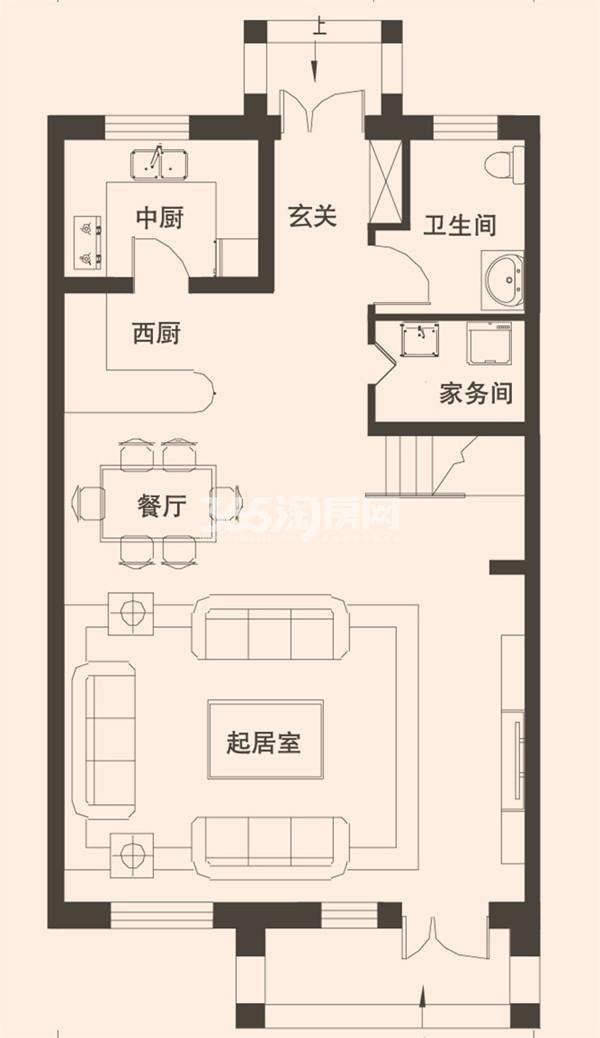别墅B2户型183平米一层