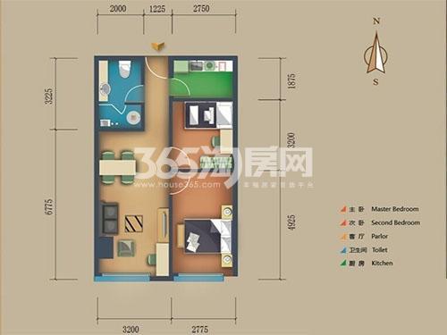 松江置嘉公寓标准层05户型2室2厅1卫 90.00㎡