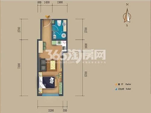 松江置嘉公寓标准层07户型1室1厅1卫1厨 50.00㎡