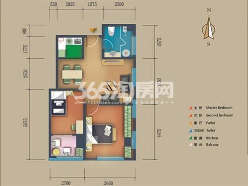 松江置嘉公寓标准层08户型2室2厅1卫1厨 99.00㎡