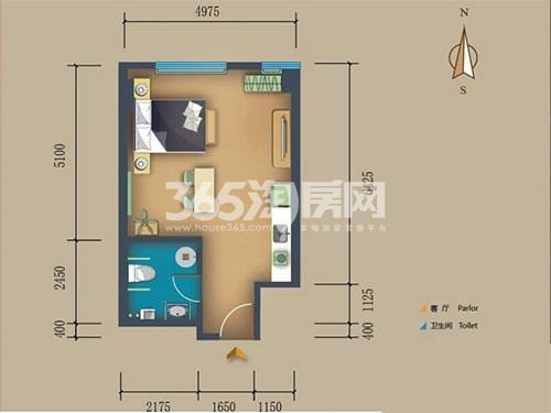松江置嘉公寓标准层11户型1室1厅1卫1厨 55.00㎡
