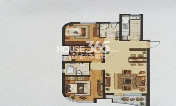金地棕榈岛L户型3室2厅2卫1厨125平