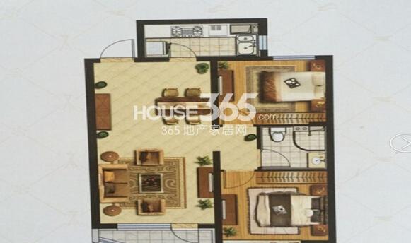 金地棕榈岛J户型2室2厅1卫1厨95平