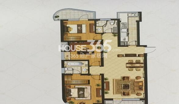 金地棕榈岛H户型3室2厅2卫1厨140平