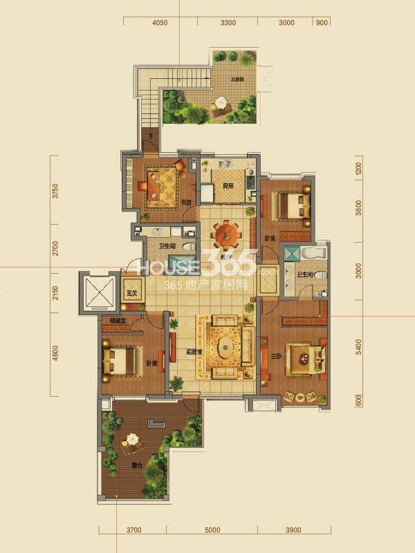 橡树湾B户型二层4室2厅2卫166㎡