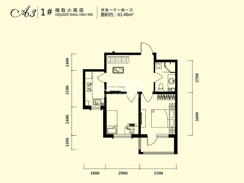 雨润中央宫园户型图小高层1号楼 1室1厅1卫61.46㎡