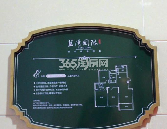 恒通蓝湾国际  E户型 3室2厅2卫 120平米