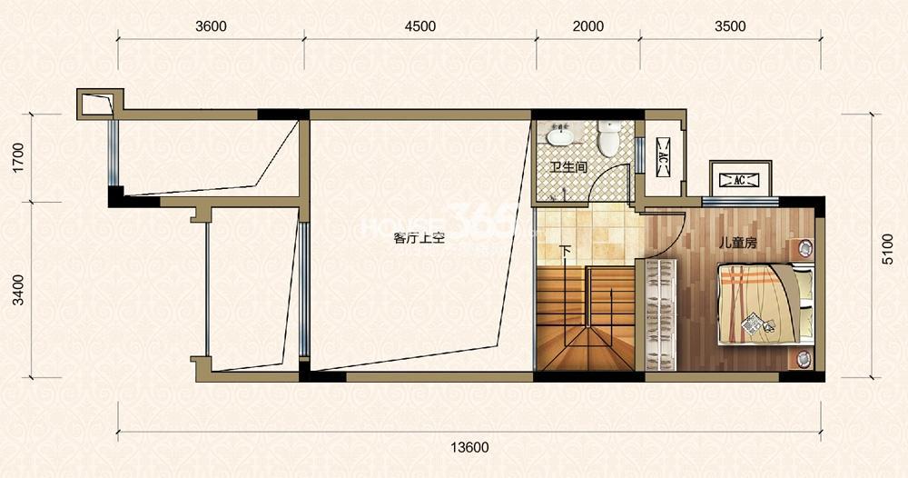 金科中央华府一期2-12号楼叠拼C1户型2楼 套内105-109平米