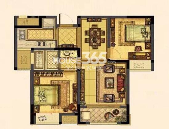中吴红玺臻园小高层19#标准层户型 76㎡2室2厅1卫1厨