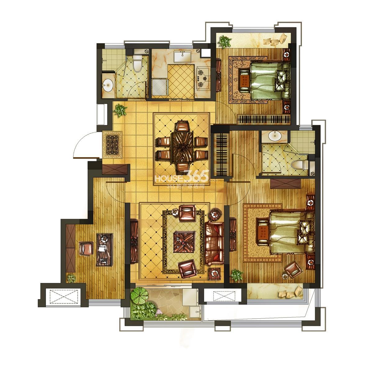 新城西溪逸境3,11-14号楼b户型85方三室二厅一厨两卫户型图