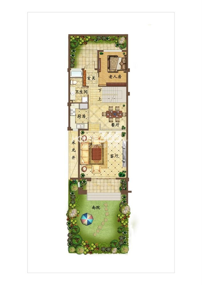 创源无想墅联排别墅c3一层户型图