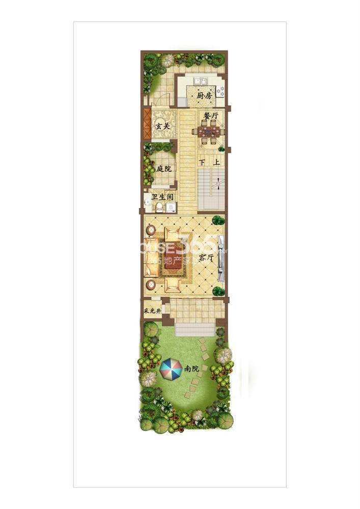 创源无想墅联排别墅c5一层户型图
