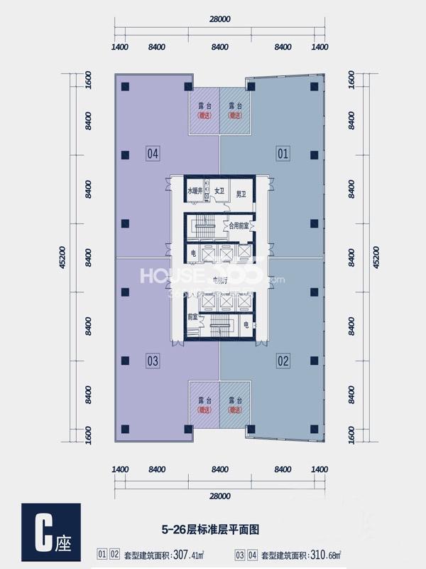 禾盛京广中心C座5-26层平面图