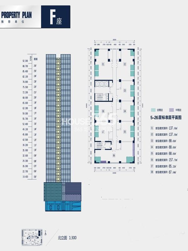 禾盛京广中心F座5-26层标准层平面图