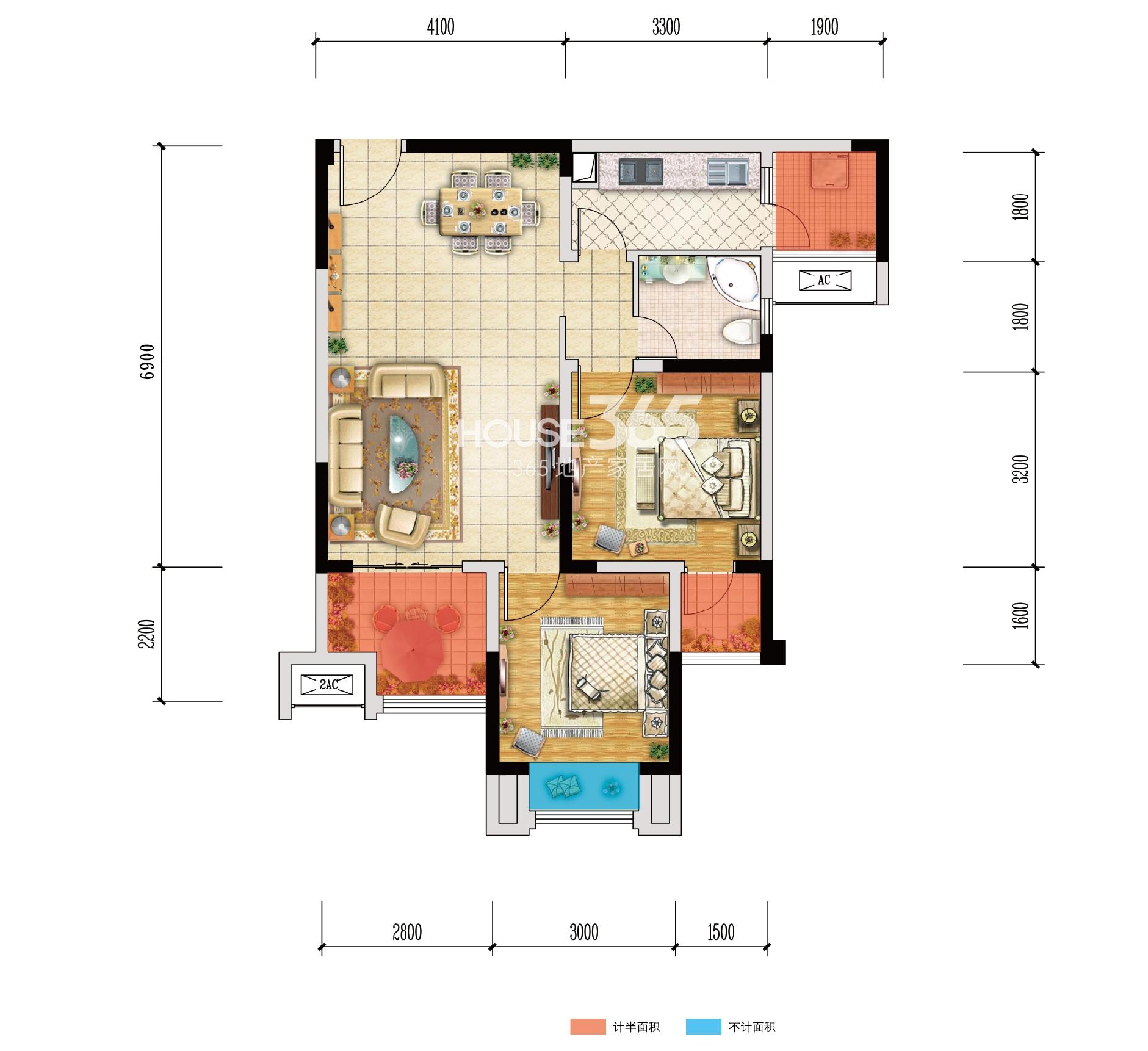 北大资源江山名门F3户型 两室两厅一卫 65.74㎡
