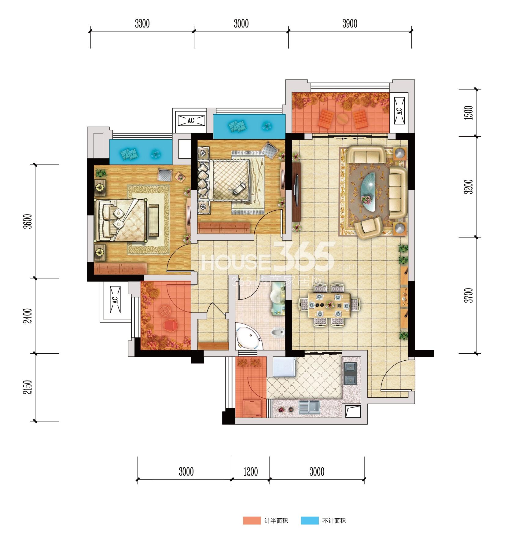 北大资源江山名门F2户型 两室两厅一卫 74.99㎡