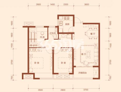 G4户型三室两厅一卫建筑面积约93.95㎡