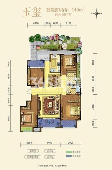 龙湖香醍璟宸140㎡户型4室2厅2卫1厨