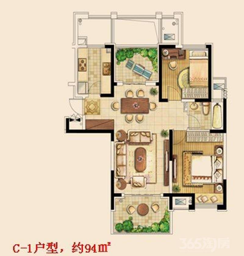 金东城世家西园三房实际面积105简装电梯房