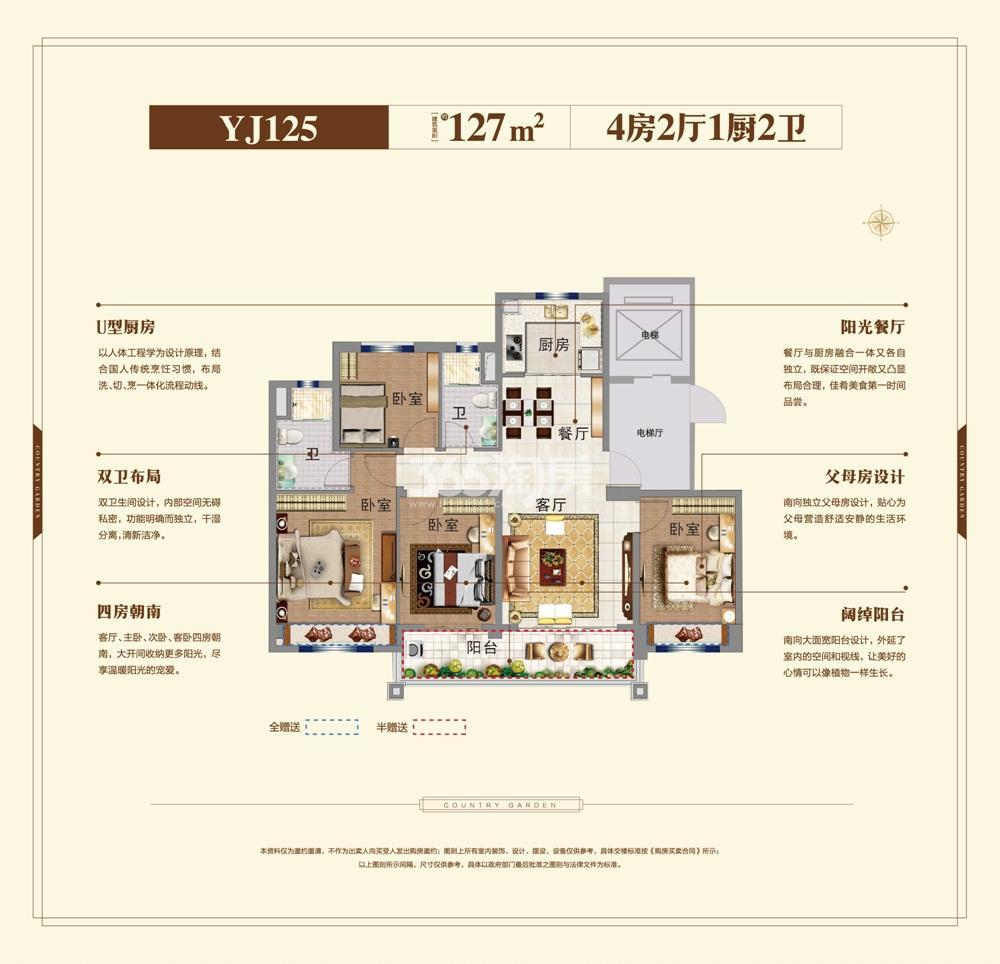 碧桂园大学印象YJ125户型图127㎡
