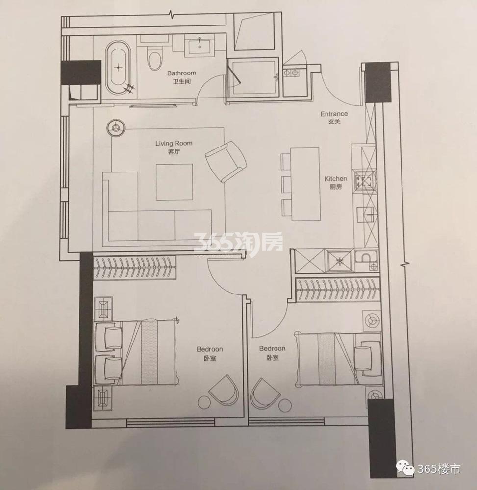 绿地紫金中心公寓86.16㎡户型图