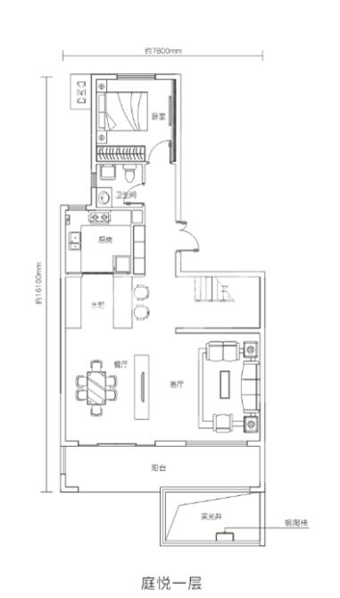 万科悦湾167㎡复式洋房一层户型图