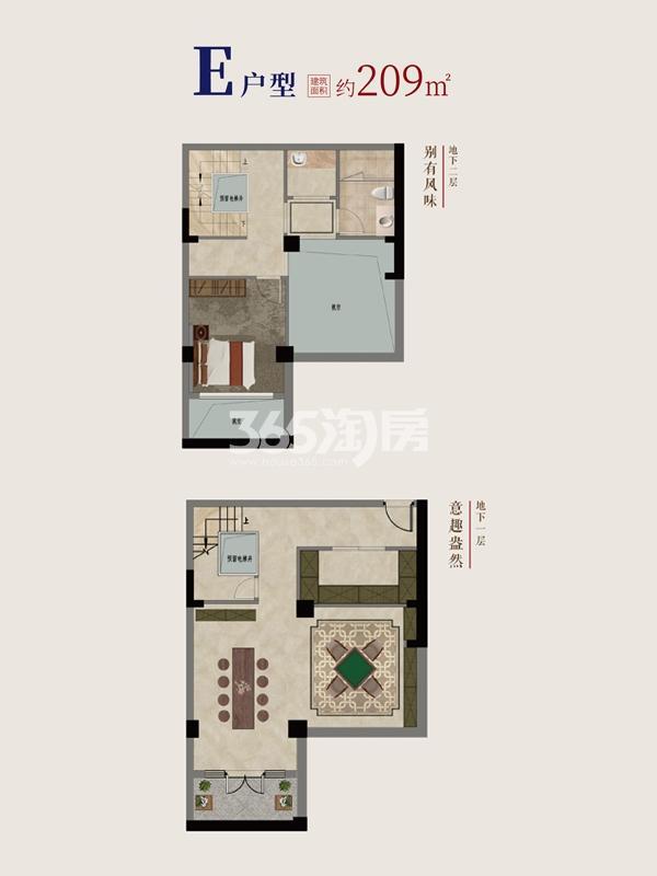 别墅E户型地下1~2层