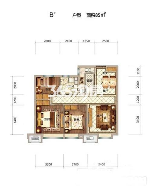 85平米三室