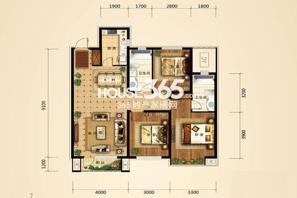 东亚翰林世家G1户型3室2厅2卫119㎡