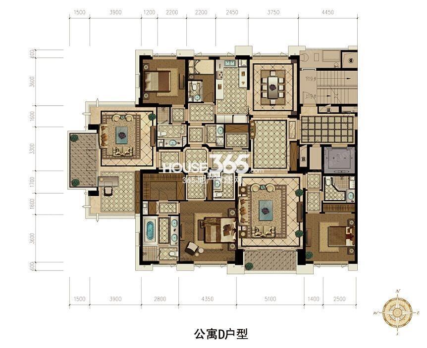 武林外滩D户型 290方 3房3厅6卫