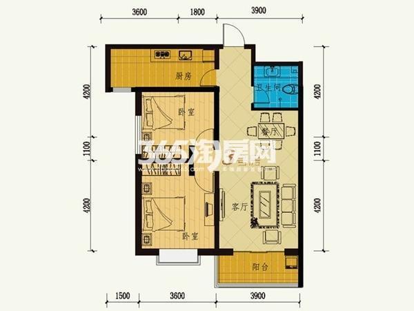 12号楼 3号房 两室两厅一卫 101.24㎡