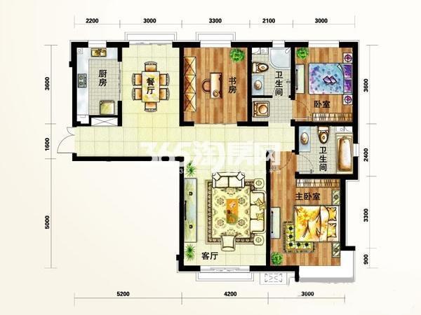 定西 天庆嘉园户型图4#5#E4户 面积 140.00㎡ 3室2厅2卫1厨
