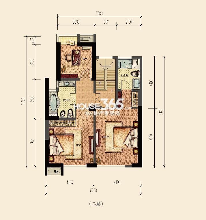 云邸跃层二层186方户型图