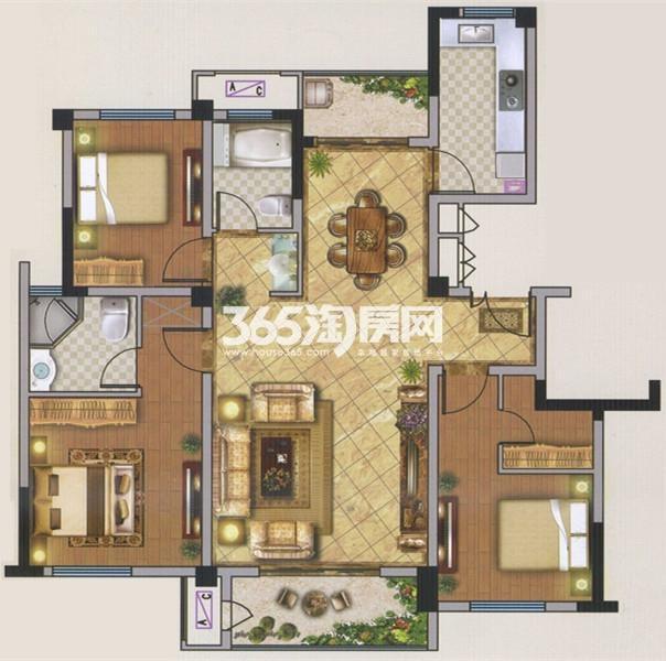 C1户型 3室2厅 121平