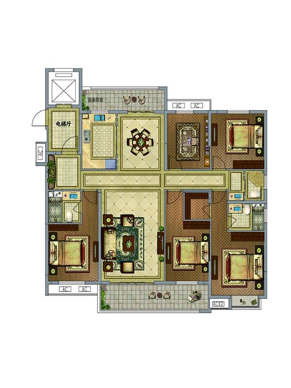 户型图 C户型  5室2厅3卫 约201.12平米
