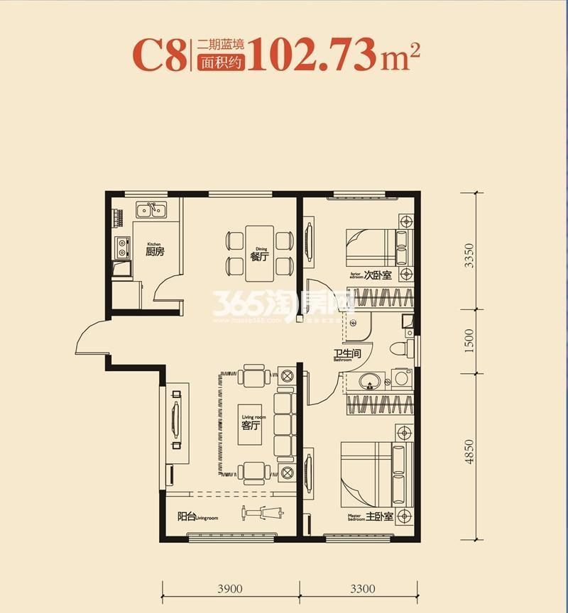中冶蓝城C8户型图两室两厅一卫 102.73平