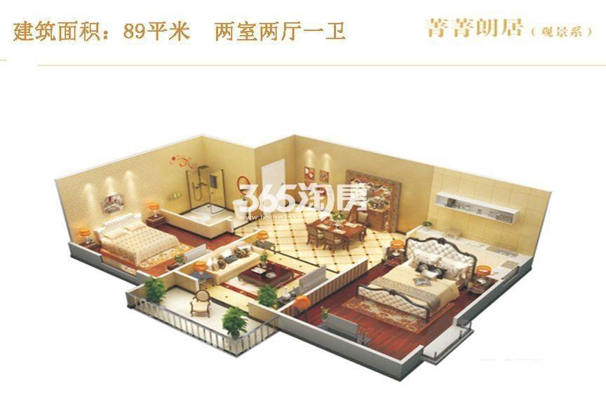 昆明时光菁菁朗居观景系两室两厅一卫89平米