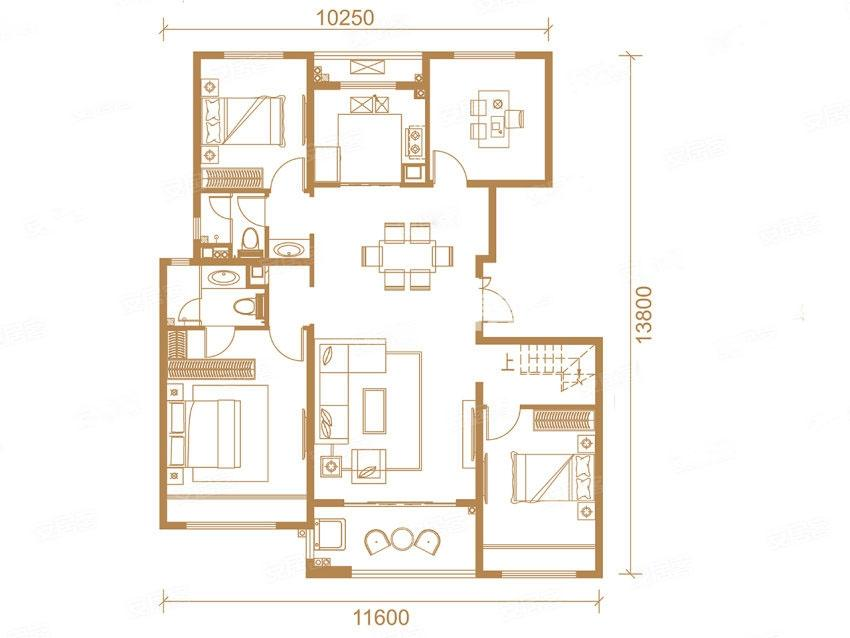 中南上悦城四室两厅151㎡户型图