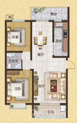 皇姑长客林语家话2室2厅1卫100平米
