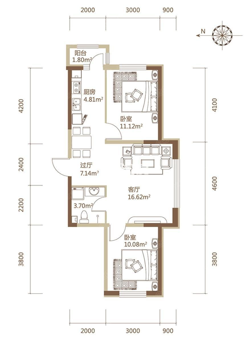 A1栋G户型建筑面积87.62平米两居户型
