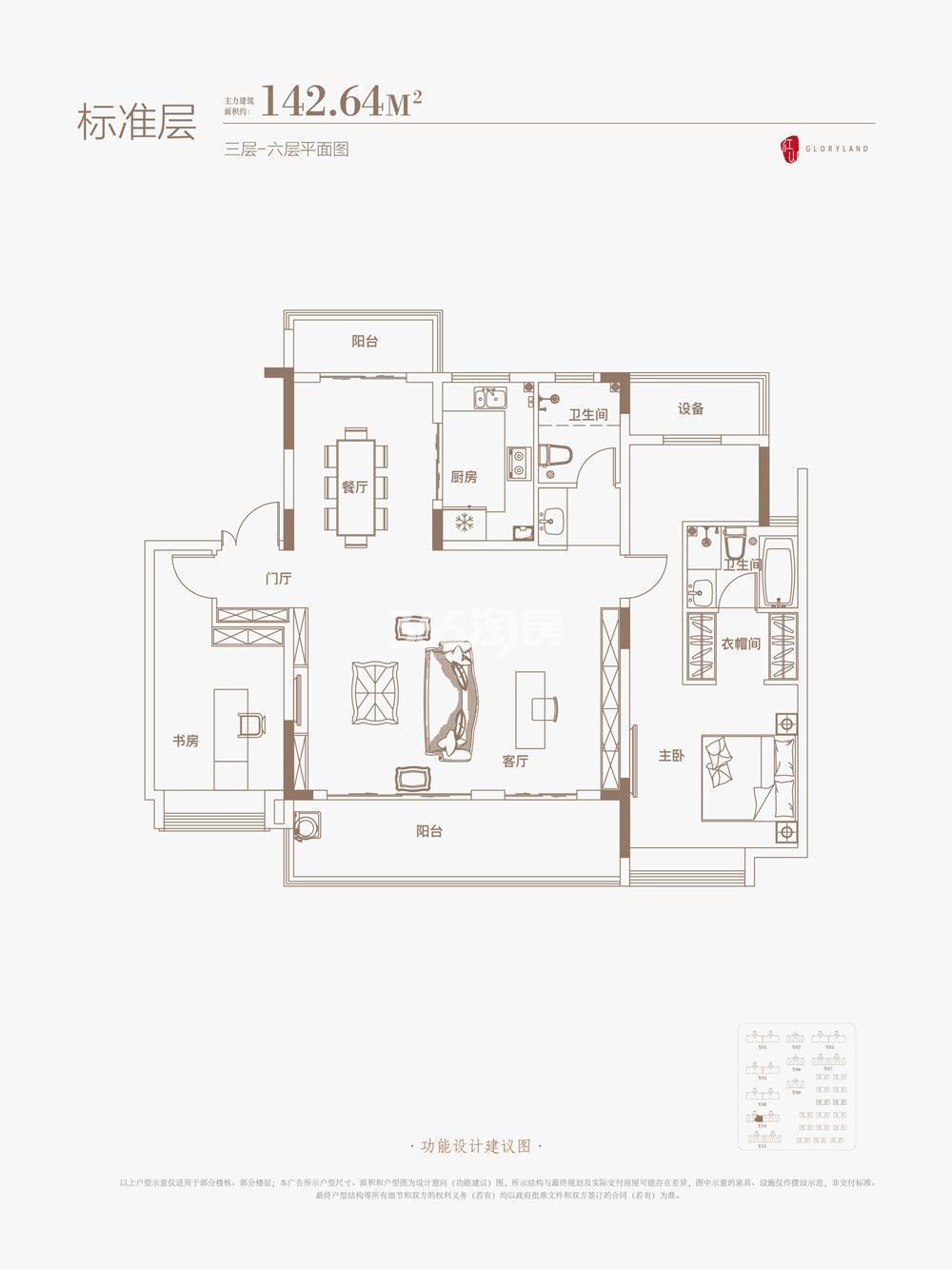 御璟江山Y10洋房142.64㎡三层-六层户型图