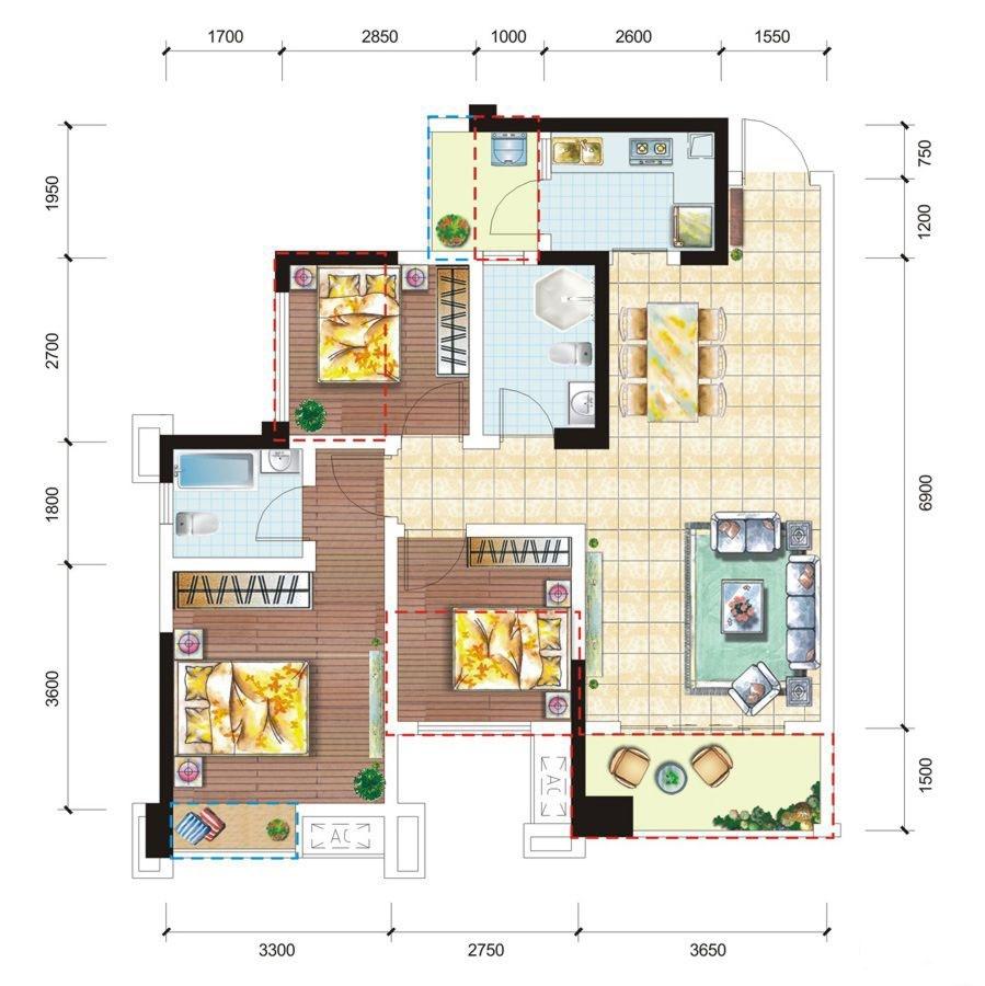 K户型 3室2厅2卫 89.49平